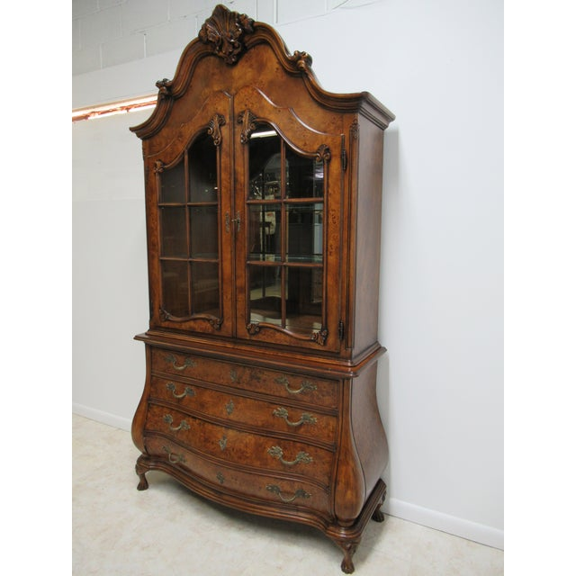 French 1980s Vintage Custom French Bombay Burl Wood China Cabinet Breakfront Hutch For Sale - Image 3 of 12