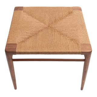 Hand Woven Rush and Walnut Ottoman by Smilow Furniture For Sale