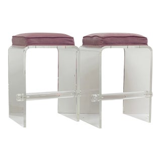 Disco Era Acrylic Stools With Mauve Cushion For Sale