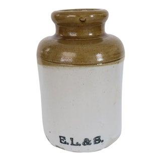Antique Gold and White Ceramic Stoneware Crock Vase For Sale