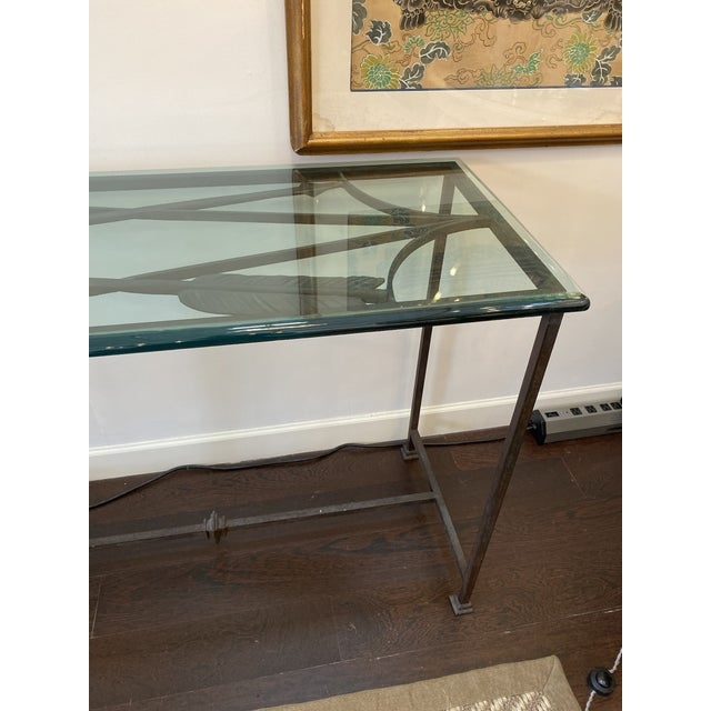Brown Iron and Glass Arrow Motif Console For Sale - Image 8 of 12