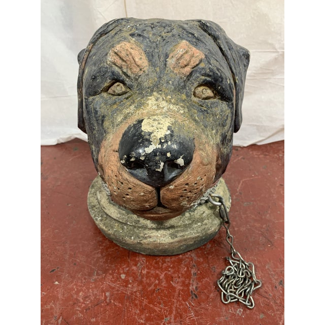 Stone French Cast Stone Dog Post Finial For Sale - Image 7 of 9