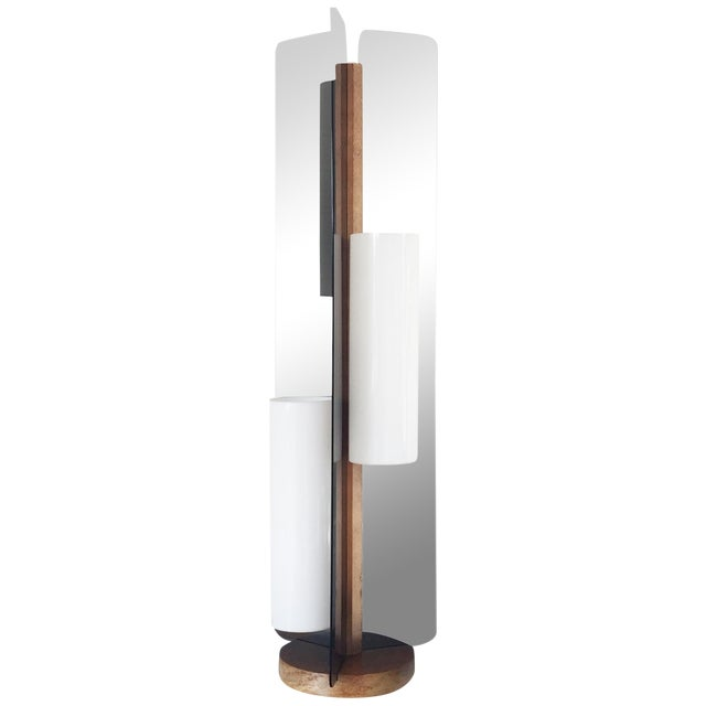 Mid Century Triple Way Wood and Grey Lamp - Image 1 of 6