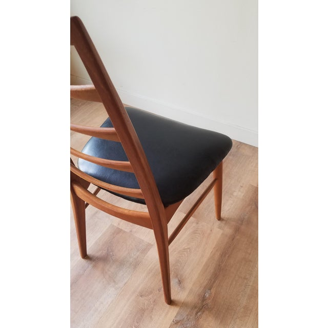 Wood 1960s Niels Kofoed for Koefoeds Hornslet Newly Upholstered Teak Ladder Back Dining Chairs - a Pair For Sale - Image 7 of 13