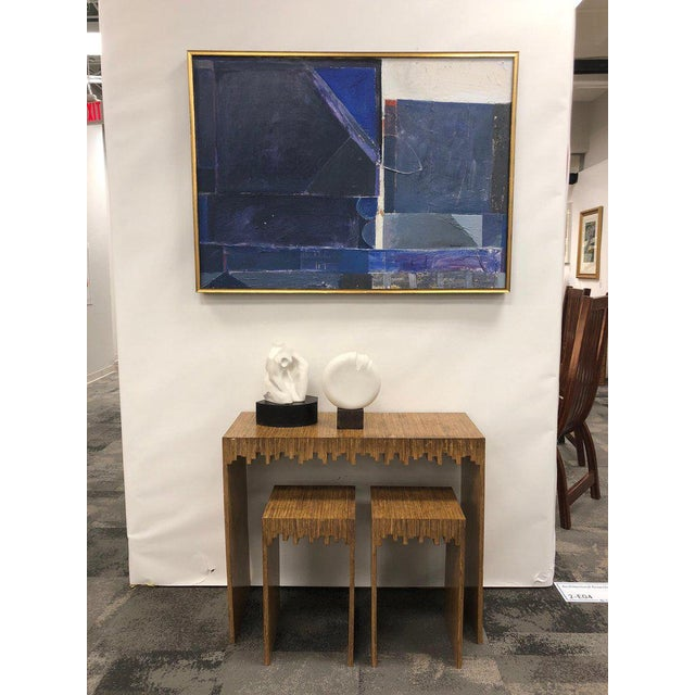 """Modern console table with two matching drink tables/ stools. 3 Pc. set Stool measures: H 22"""", W 13"""", D 11.75""""."""