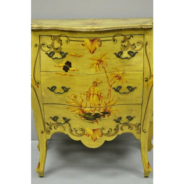 Vintage Italian Hand Painted Yellow Chinoiserie Chest For Sale - Image 4 of 11