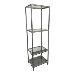 Steel Frame + Glass Shelve Etagere For Sale