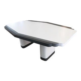 1970's Rougier Modern Grey and White Surfboard Shaped Dining Table For Sale