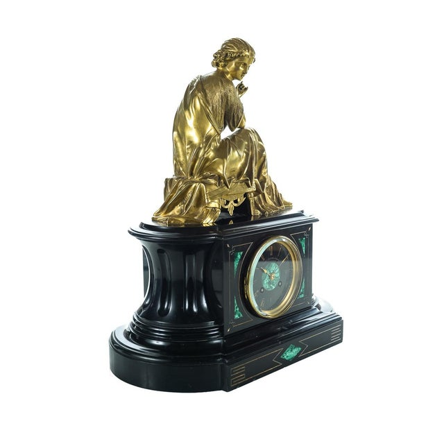 Mid 19th Century Gilt Bronze Figure on Marble & Malachite Clock For Sale - Image 5 of 9