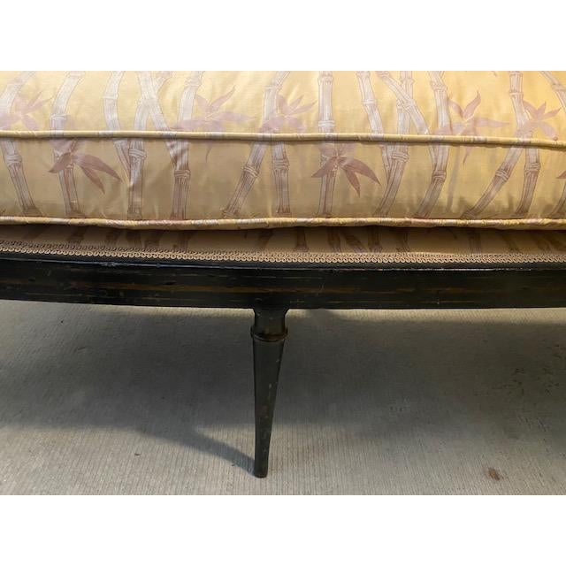 19th C. English Black Painted Settee With Flower Motif For Sale - Image 4 of 12