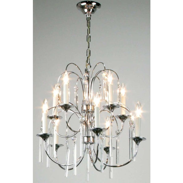 Italian Chrome & Crystal Ten-Arm Waterfall Chandelier For Sale - Image 4 of 8