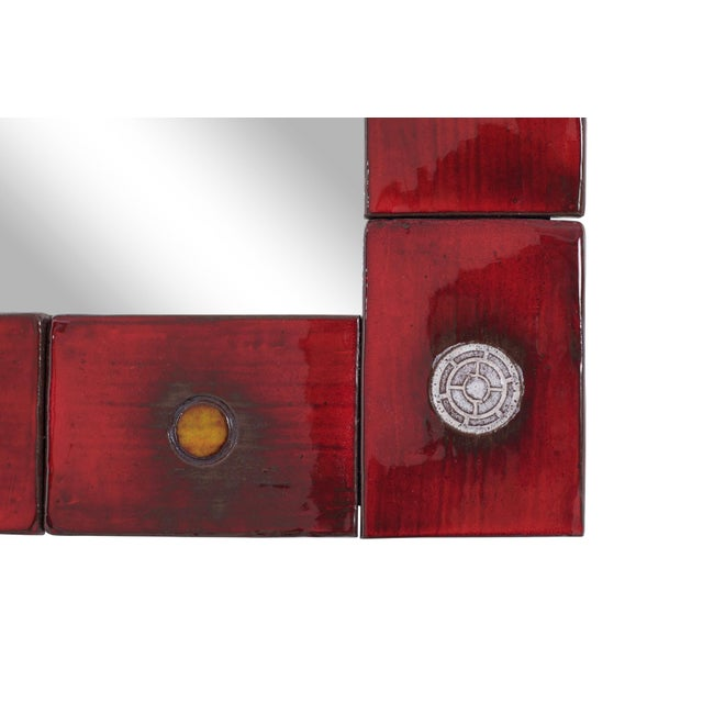 Ceramic Tile Mirror by Oswald Tieberghien in Red Glaze For Sale - Image 9 of 10