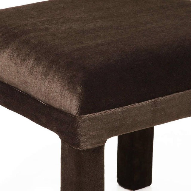 Final Markdown Mid-Century Sorrel Mohair Stool For Sale - Image 4 of 4