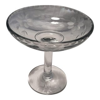 1930s Floral Etched Crystal Candy Dish For Sale