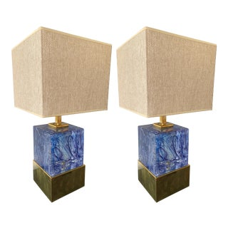 Contemporary Pair of Lamps Blue Murano Glass and Brass, Italy For Sale