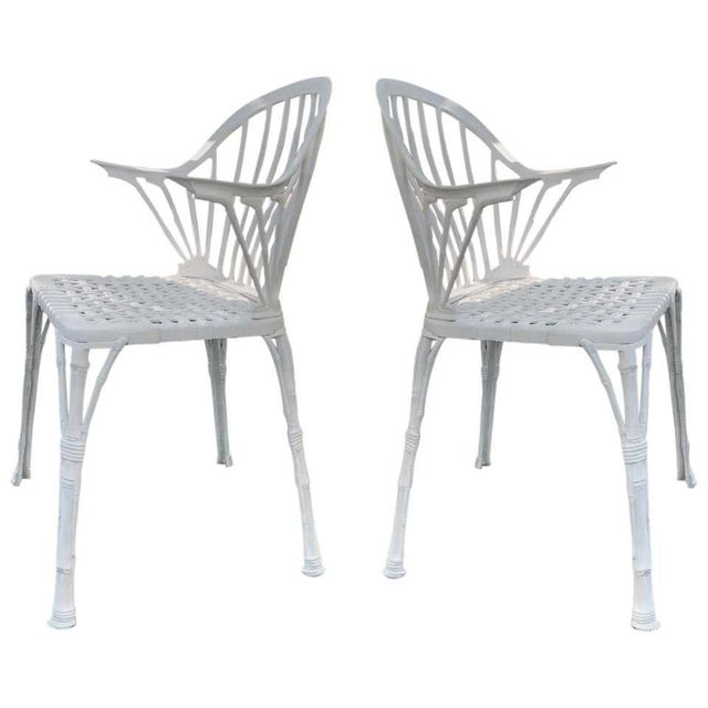 20th Renaissance Revival Style Cast Iron White Garden Chairs in Faux Bamboo - a Pair For Sale - Image 11 of 11