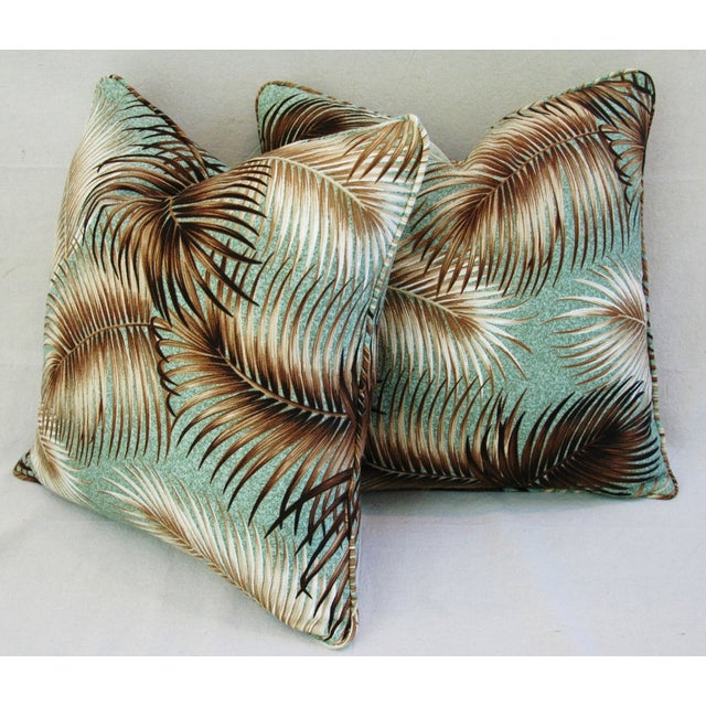 Mid-Century Palm Leaves Barkcloth Pillows - Pair - Image 7 of 9