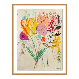 Flowers for Her by Lesley Grainger in Gold Frame, Small Art Print For Sale