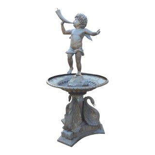 Bronze Fountain with a Cherub on Top
