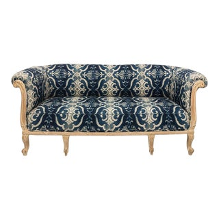 Antique French Chesterfield Sofa in Indigo Ikat Print Linen For Sale