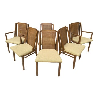 1960s Vintage Drexel Cane & Walnut Dining Chairs - Set of 6 For Sale