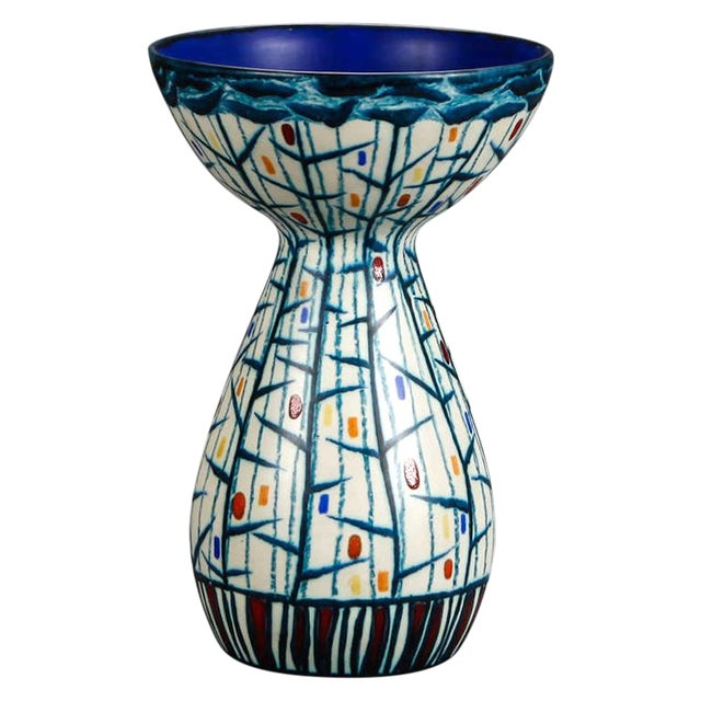 Mid Century Ernest d'Hossche Op Art Blue White Vase - Image 1 of 4
