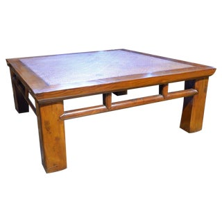 Coffee Table with Woven Rattan Top