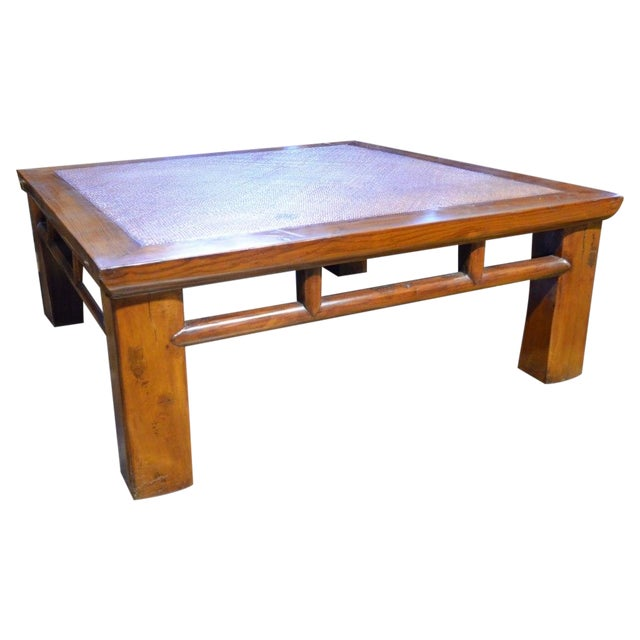 Boho Rattan Coffee Table: Coffee Table With Woven Rattan Top