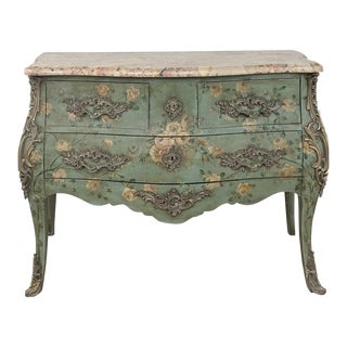 19th Century French Louis XV Painted Marble Top Commode For Sale