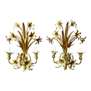 Italian Mid Century Hollywood Regency Gilt Toleware Floral Sconces - a Pair For Sale