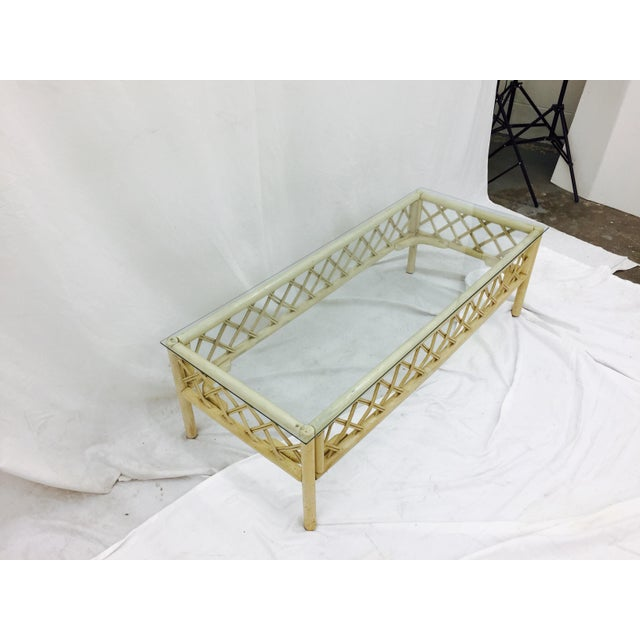 Vintage Ficks Reed Rattan & Glass Coffee Table For Sale In Raleigh - Image 6 of 7
