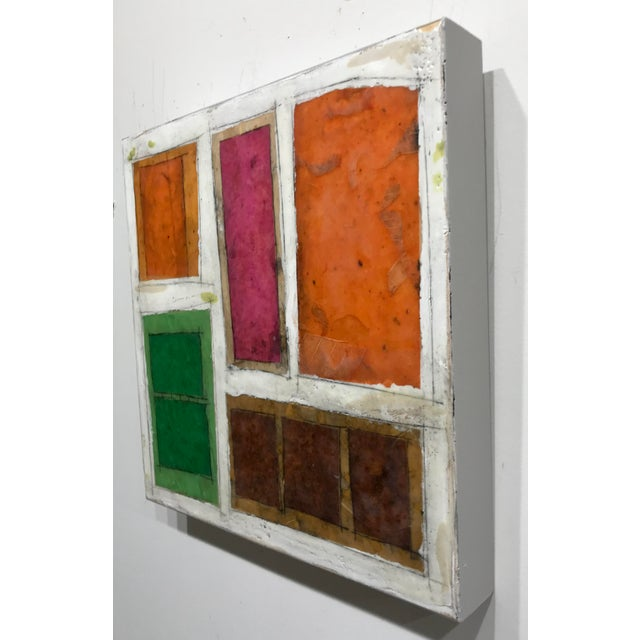 "White Gina Cochran ""Necessity of Play No. 6"" Encaustic Collage Painting For Sale - Image 8 of 9"