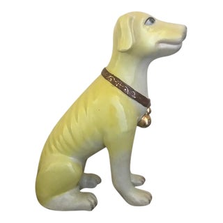Vintage Hand Painted Ceramic Yellow Lab Dog Figurine For Sale