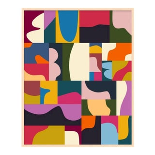 Bright Abstract Mosaic Print with Frame For Sale