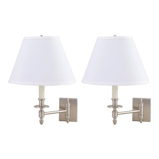 Phoenix Day Satin Chrome Huntington Swing Arm Sconces With Linen Shade - a Pair For Sale