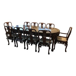 1980s Vintage Hand-Carved Asian Rosewood & Mother of Pearl Dining Room Set For Sale