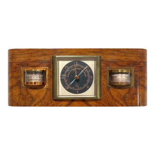 1940s Antique Art Deco Burl Wood Wall Barometer For Sale