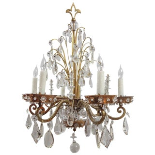 1920's French Bagues Crystal Chandelier For Sale