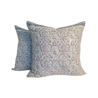 Vintage Block Printed Kantha Quilt Pillows - Pair