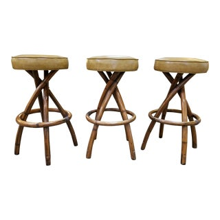 Bamboo Bar Stools 1950's Set 3 For Sale