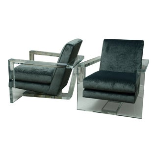 Fabulous Pair of Lucite Arm Chairs For Sale