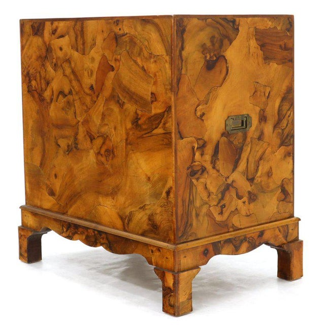 Campaign Style Patch Burl Olive Wood Small Bachelor Chest Dresser Cabinet For Sale In New York - Image 6 of 13