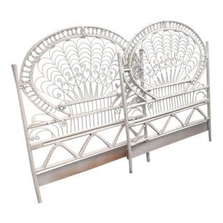 1960s Boho Chic White Peacock Twin Headboard and Footboard - 2 Pieces For Sale