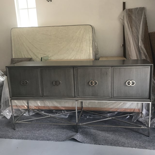 Beautiful Grey Credenza or Buffet with chrome hardware and legs by Michael Weiss for Vanguard Furniture 4 doors, no...
