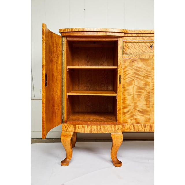 Swedish Art Deco Sideboard of Bookmatched Golden Flame Birch For Sale In Atlanta - Image 6 of 13