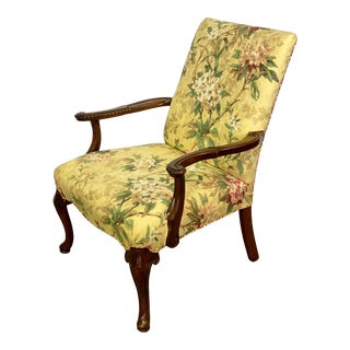 Vintage Mahogany Chippendale Style Queen Anne Bergere Chair For Sale