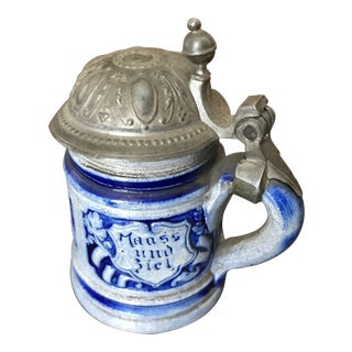 Miniature German Beer Stein with Pewter Lid For Sale