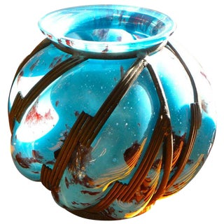 Original Blue Spotted Glass With Iron in Lorraine Style Vase For Sale