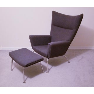 Pair of Hans Wegner Ch445 Carl Hansen & Son Wing Lounge Chairs and Ottoman Preview
