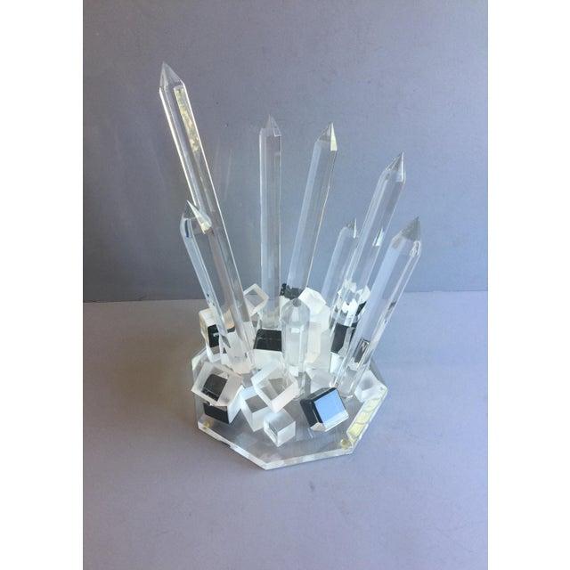 Transparent Large Modern Lucite Abstract Quartz/Crystal Shape Magnificent Sculpture For Sale - Image 8 of 13